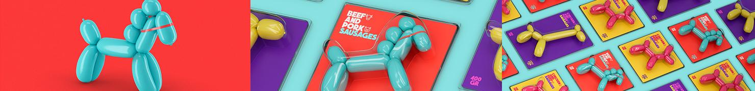 可爱动物造型的Sausage Fun香肠包装设计